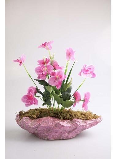 Kibrithane Çiçek Yapay Çiçek Beton Saksı Mini Lila Kumaş Orkide Kc00200798 Renkli